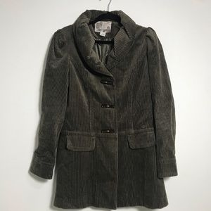 kensie Olive Green Corduroy Button Peacoat